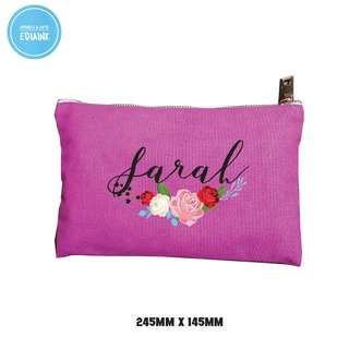 Customised Cosmetic Pouch - floral series and name print for girlfriend bridesmaid