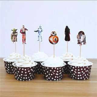 12 pcs Star Wars Cupcake Toppers Cake Topper Muffin Decoration Baking Picks Birthday Party