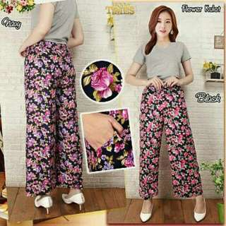 Flower kulot   Bahan Rayon adem full karet fit XL