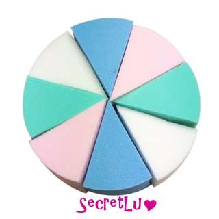 [BRAND NEW] [Good Quality] [In Stock] 8-pc Candy Colour Cosmetic Triangle Shaped Face Cleaning Pad Sponge Puff