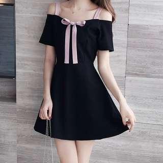 Plus Size 2X GSS Baby Doll Korea Sexy Shoulder Ribbon Bow Skater Dress