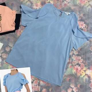 Ruffles Sleeves Cold Shoulder Top in Blue #15Off