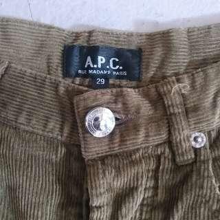 A.P.C. Army Green Corduroy Pant sized:29 APC墨綠色燈芯絨直腳褲