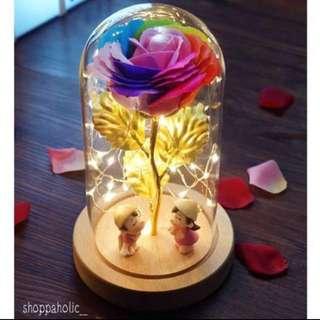 💐 Rainbow Rose Jar with Figurine / Valentine's Rose