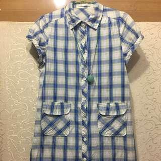 T-parts藍白格紋襯衫