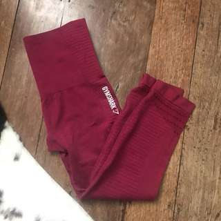 Gymshark Berry/Burgundy Cropped Seamless Gym Tights size XS