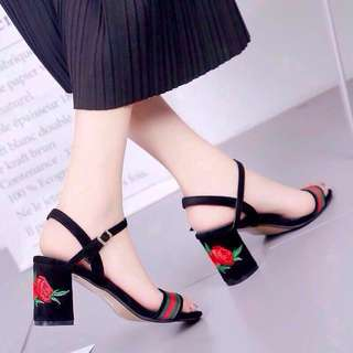 Redy stock free pos embroidery high heels ankle strap shoes open toe #15off