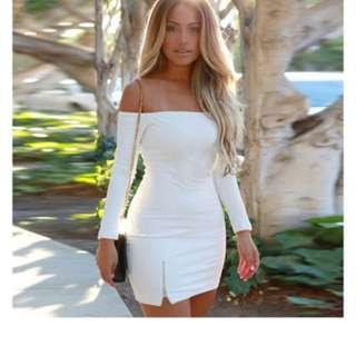 Baju Panjang Bodycon mini Dress Pesta Clubwear Komersil (putih)