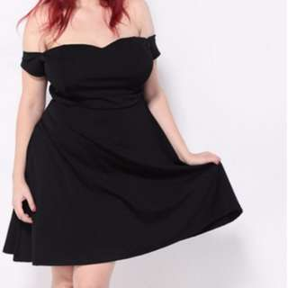 Plus Size US16 GSS Sweetheart Sexy Shoulder A-line Skater Mid Dress
