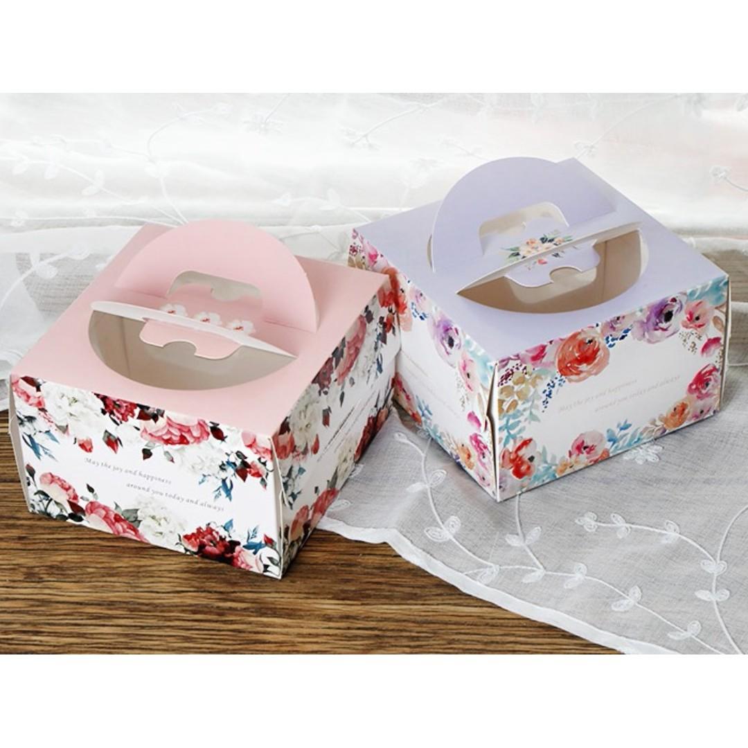 ▪3只入▪小6吋玫瑰花款起士乳酪蛋糕盒(附底托)/4寸蛋糕盒/乳酪戚風伴手禮盒/小餅乾慕斯烘焙包裝禮品盒