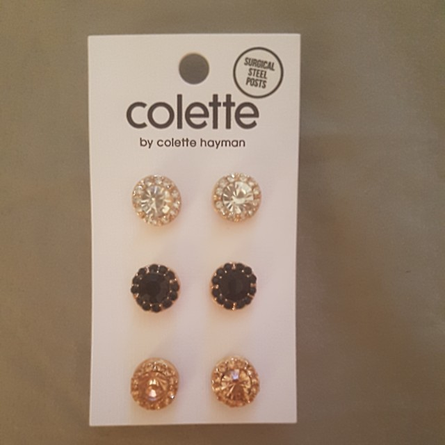 3 pack jewelled studs