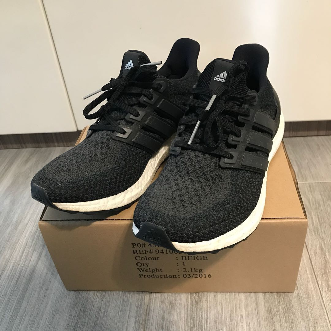 95% new Adidas Ultraboost US9 男裝灰黑色
