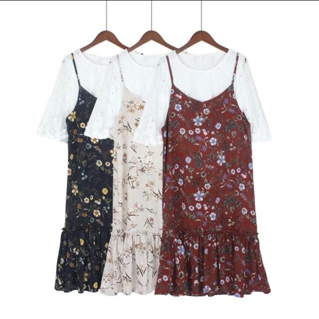碎花吊帶洋裝