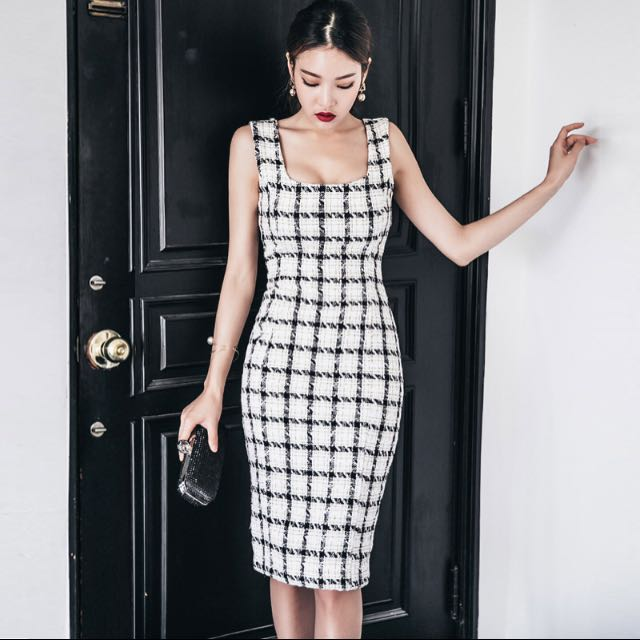 復古包臀顯瘦洋裝#格紋