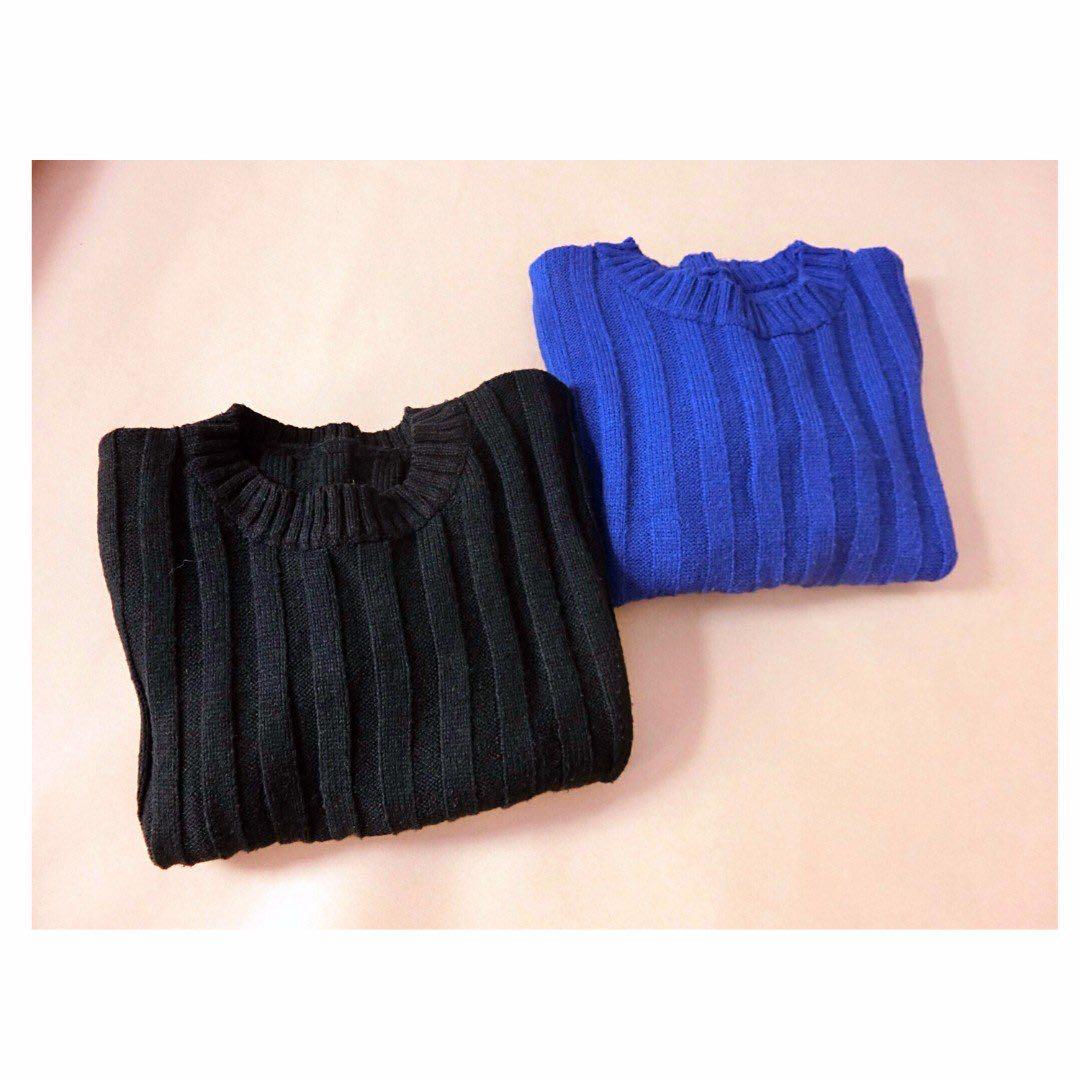 短版針織上衣(黑)&(寶藍)