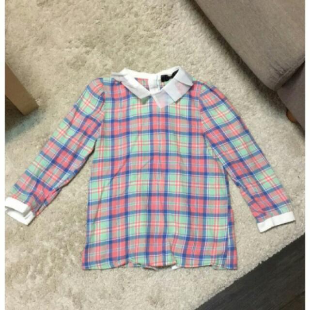 韓版可愛格紋白紗領襯衫
