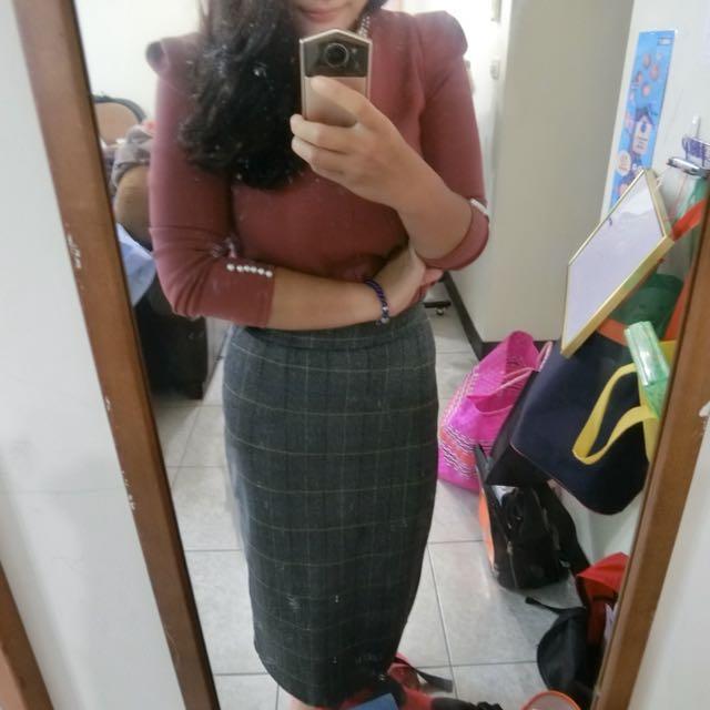 氣質長裙+玫瑰色上衣(整套賣)