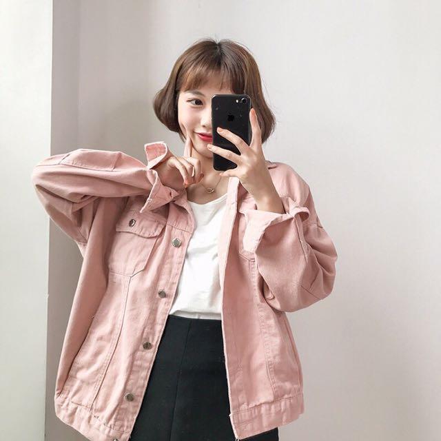 粉色丹寧夾克襯衫外套