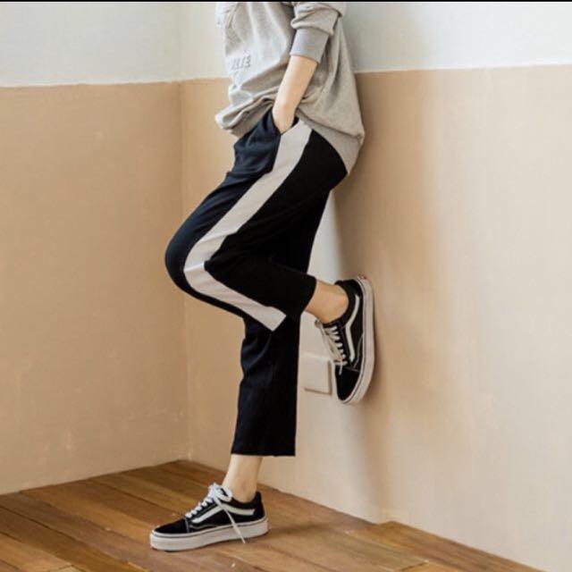 鬆緊條紋運動褲