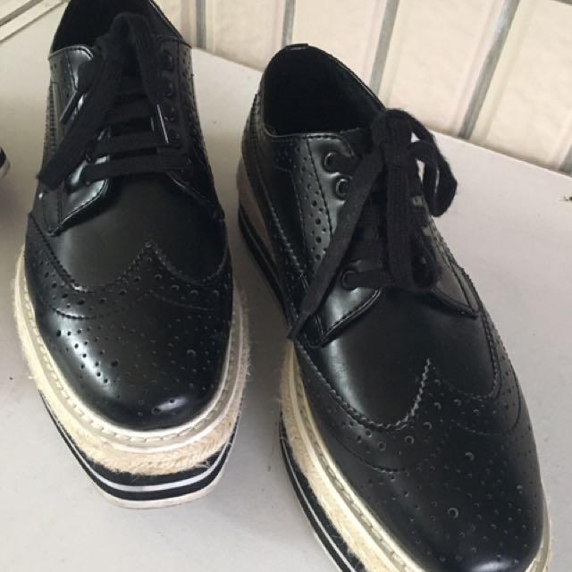牛津鞋 34號 銀色黑色
