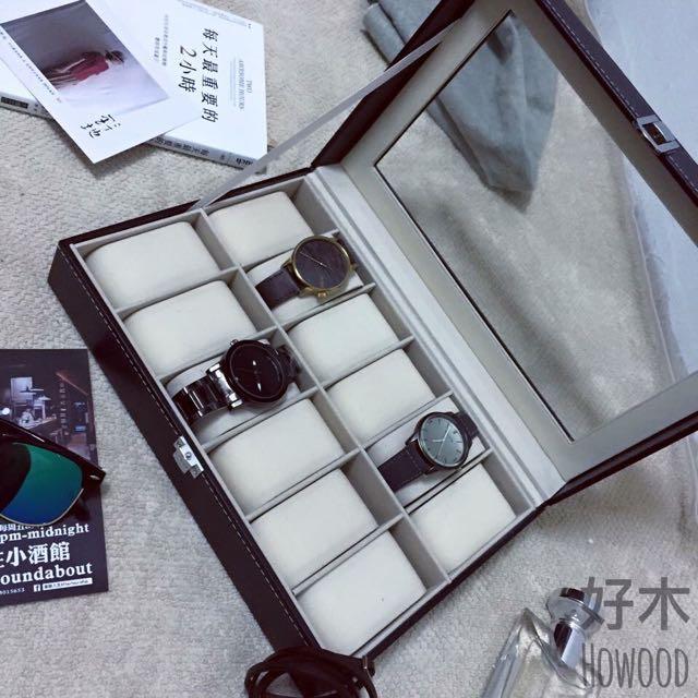 「現貨‼️現貨‼️」質感 皮革 錶盒 飾品盒 收納盒 內絨布