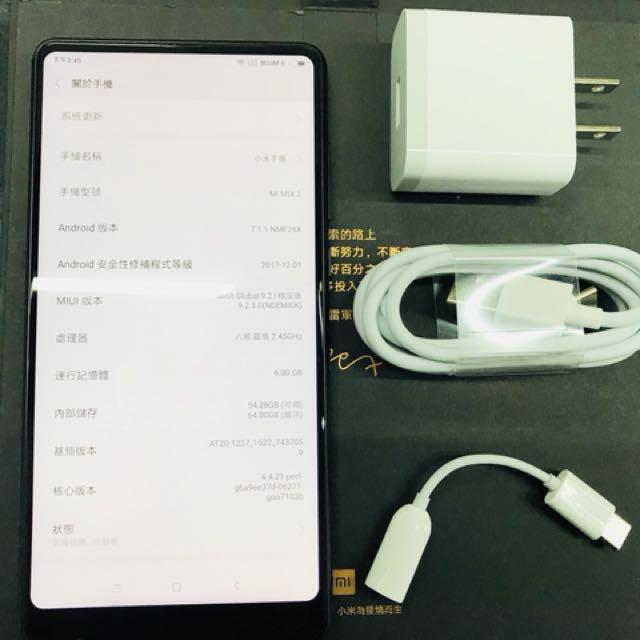 二手機 中古機 小米Mix2 6+64G 黑色 神腦保固到2019/2/14 台灣公司貨 5.99吋