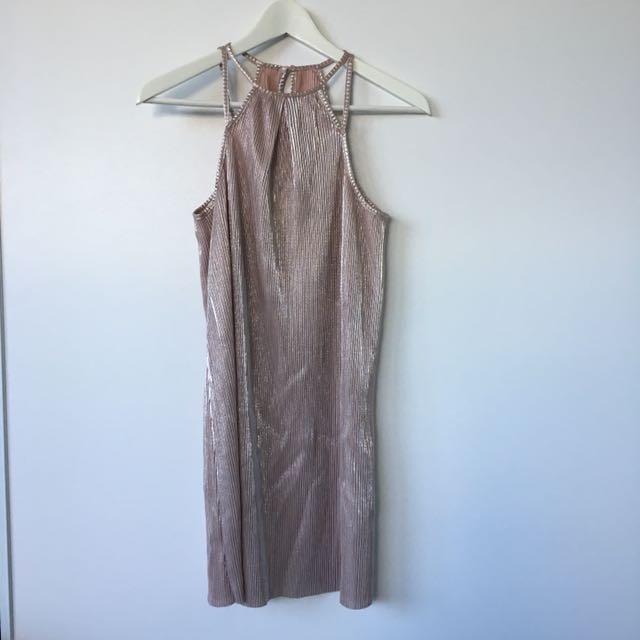 Ache metallic crepe dress