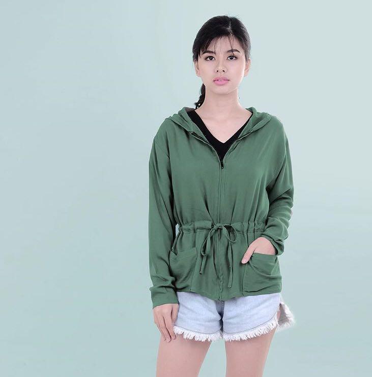 Army Green Drawstring Jacket