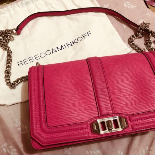 Authentic Rebecca Minkoff Love Crossbody in Flamingo