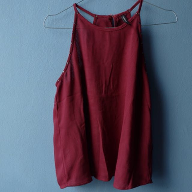 baju merah halter top by stradivarius