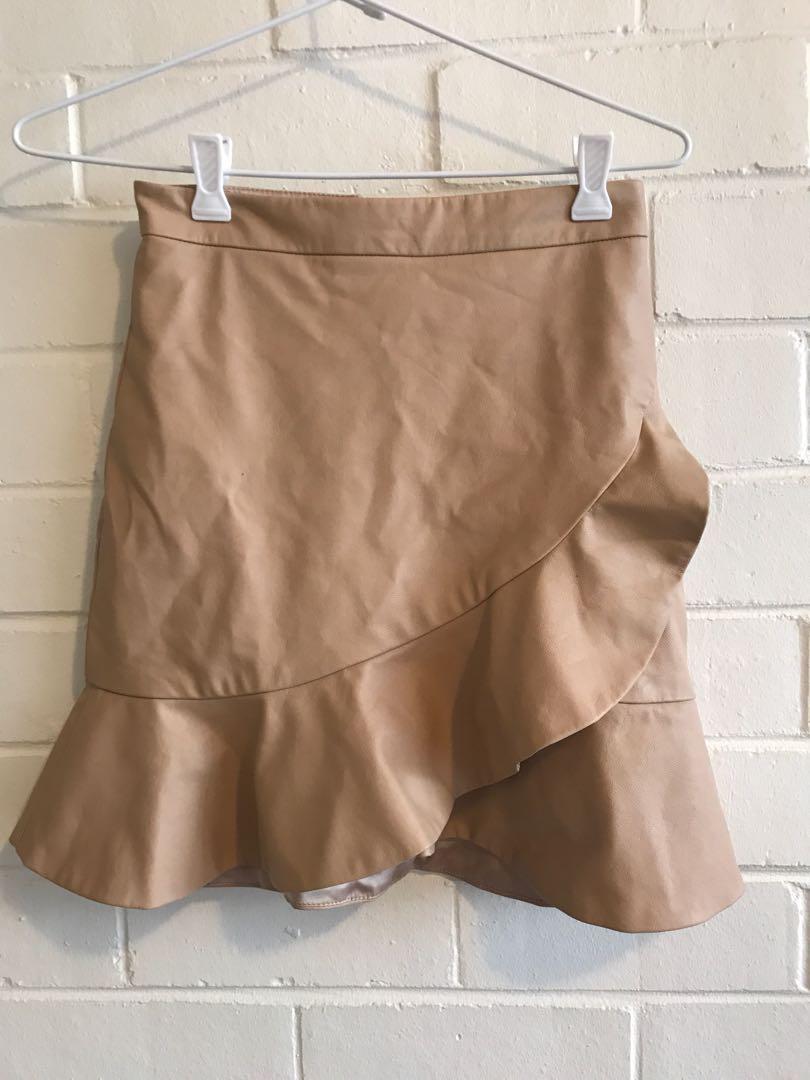 Bardot leather look skirt