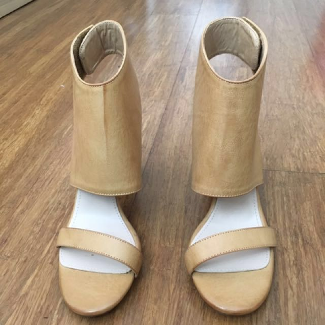 Beige tan wedge heel cut out block heel