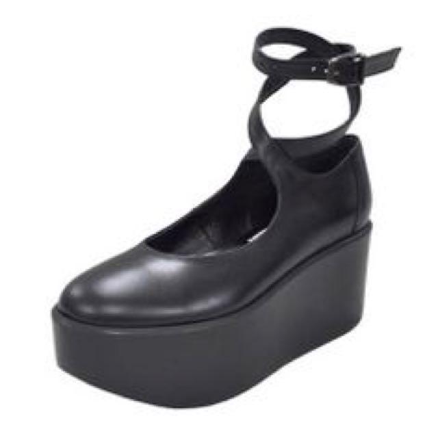 Belly Button 綁帶厚底鞋 no.922 黑色牛皮 鞋碼22.5 適合23.5 二手