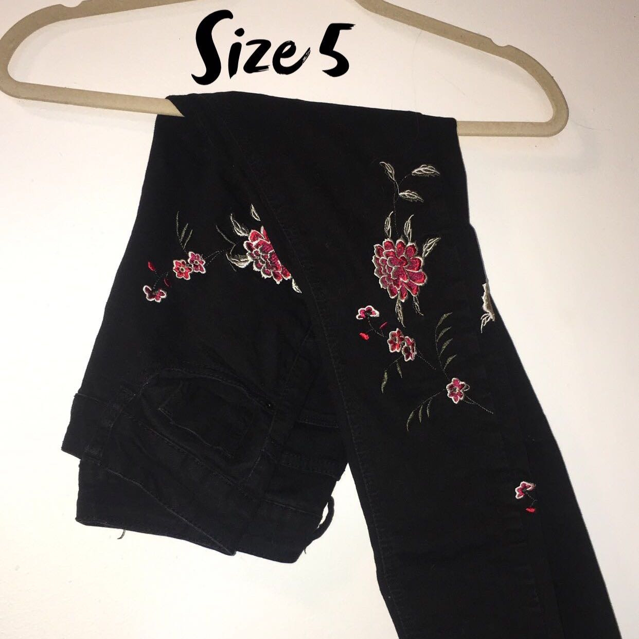 Black & Floral embroidered jeans