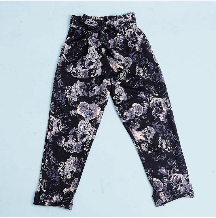 Black floral tie pants