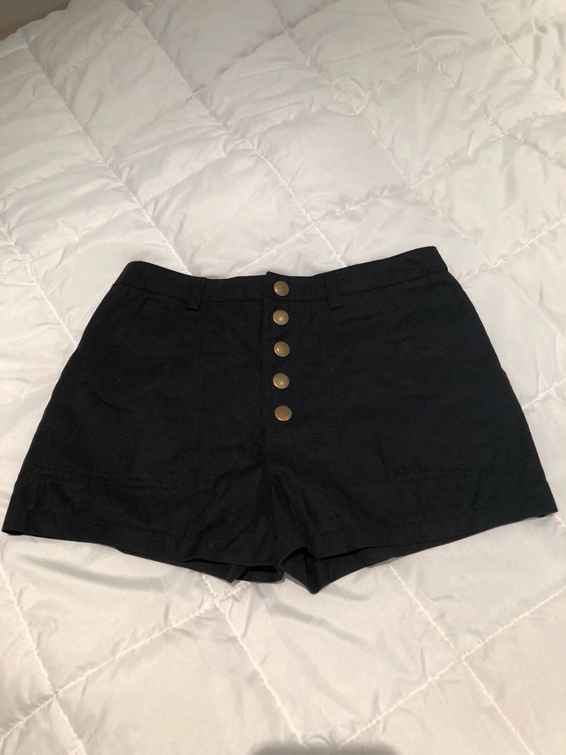 Black high waist mini shorts