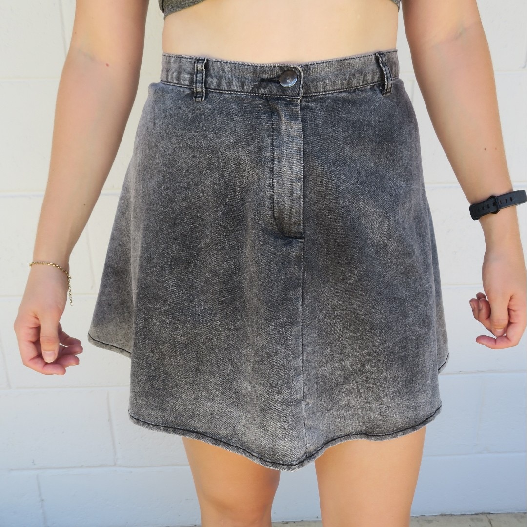 Black High Waisted Denim Mini Skirt