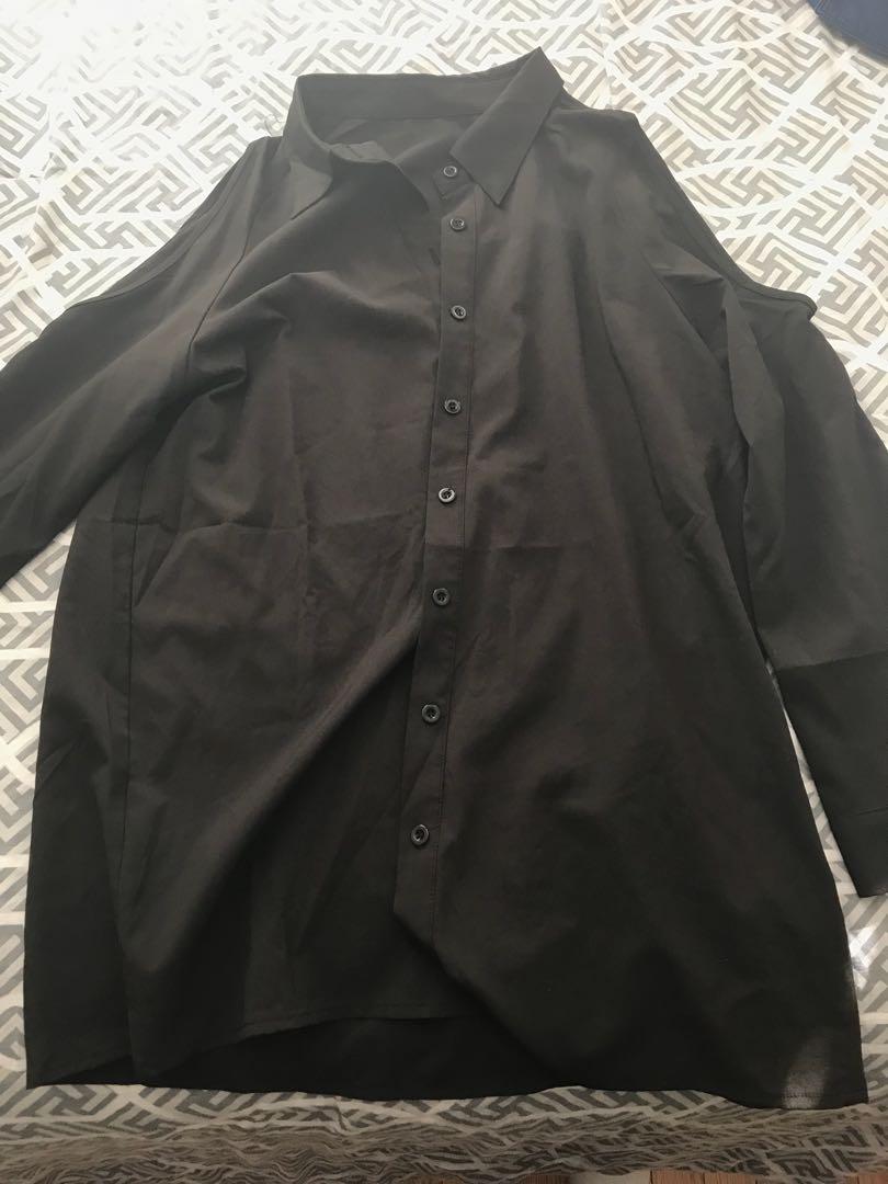 Black Open Shoulder Button-up Blouse