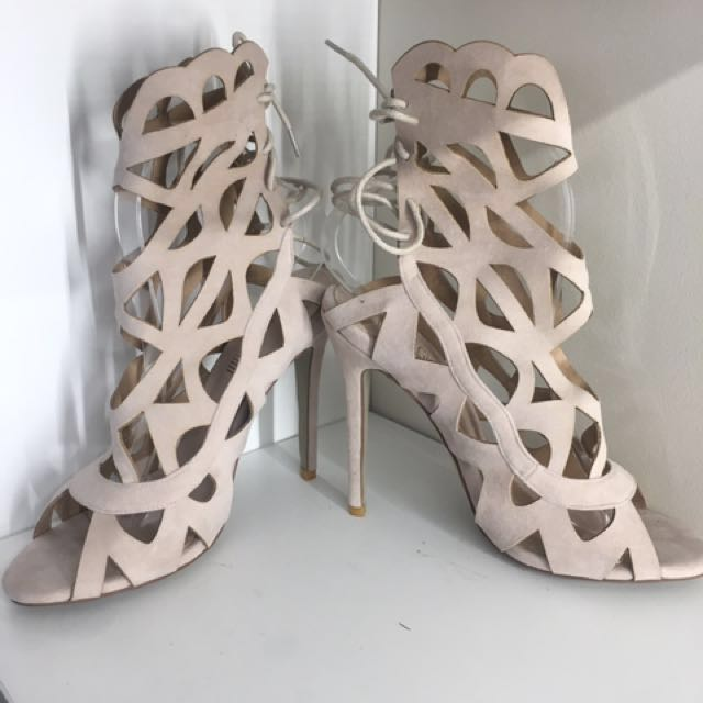 Brand new beige suede cut out heels