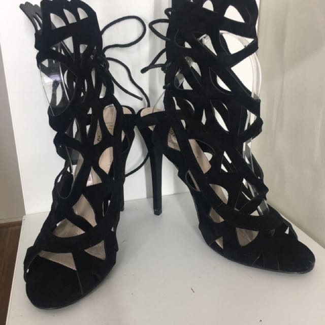 Brand new black suede cut out heels