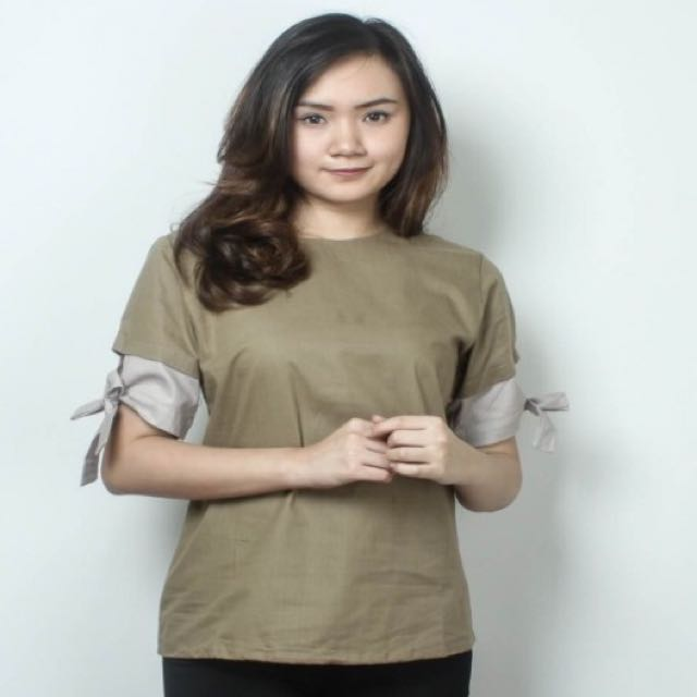 Brown Tied Blouse