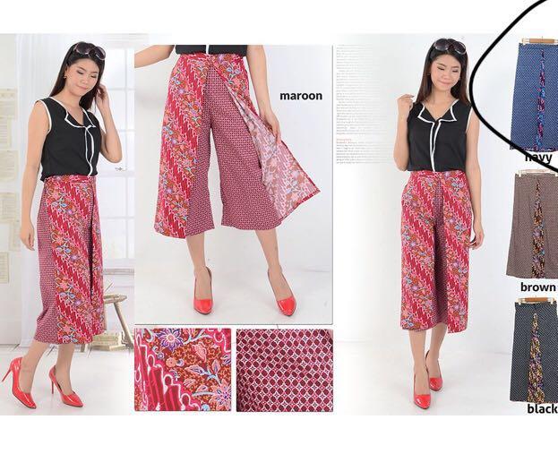 Celana kulot batik - Navy