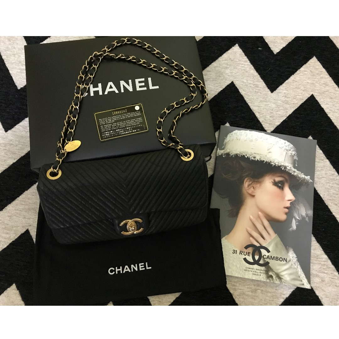 CHANEL Cruise Aged Calfskin Chevron Flap