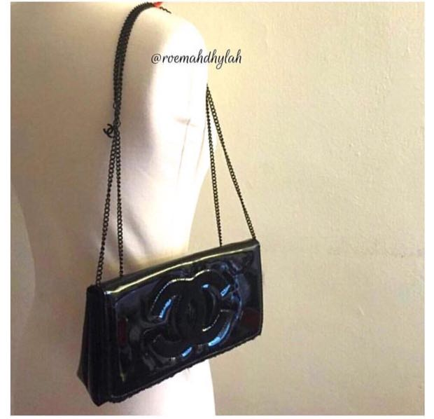 Chanel VIP Gift Patent Leather Clutch With Chain