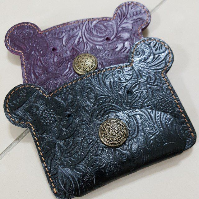 Coin Holder (Genuine Leather)/Purple & Black/Free Speedy Delivery