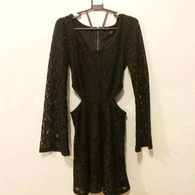 Cut Out Laced Black Dress