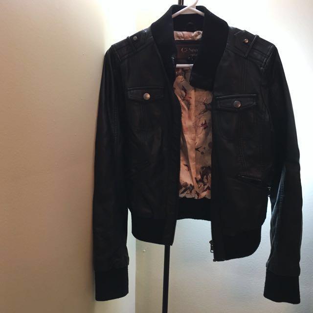 Faux leather jacket size s