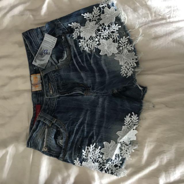 Floral Lace Denim Shorts Size 6