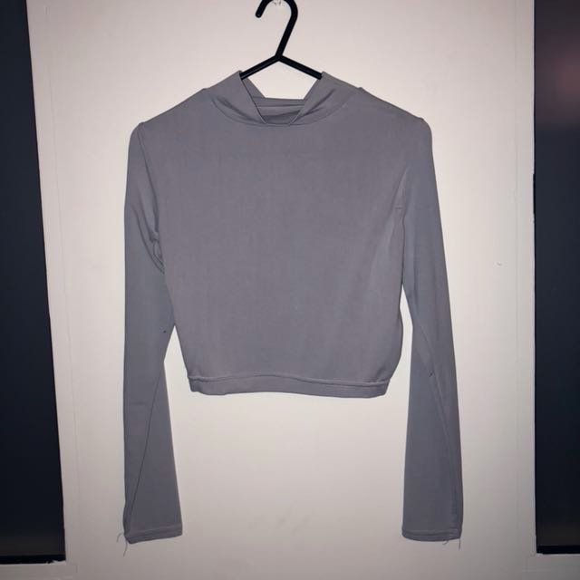 FREE POSTAGE Grey High Neck Long Sleeve Crop