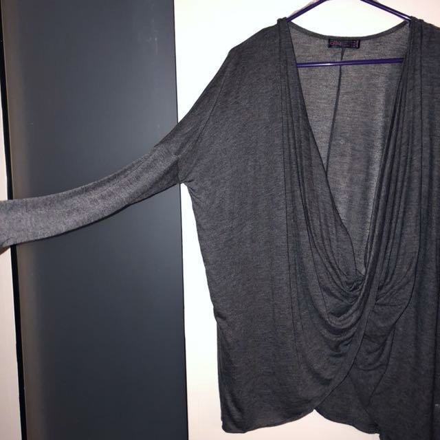 FREE POSTAGE Long Sleeve Grey Draped Low Cut Crossover Top